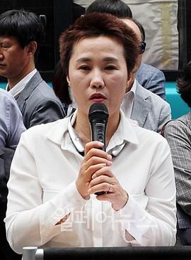 ▲ 전국장애인부모연대 서울지부 김남연 회장이 발언하고 있다.